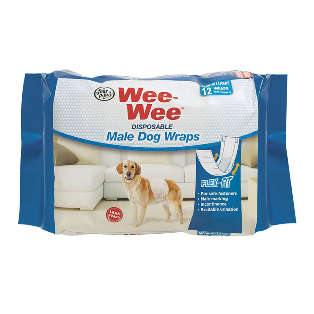 Four Paws Wee Wee Pañal Macho Disposable Wraps 12 unid.