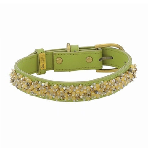 Dosha Collar Cuero Green Beaded Yellow Jade & Picture Jaspe