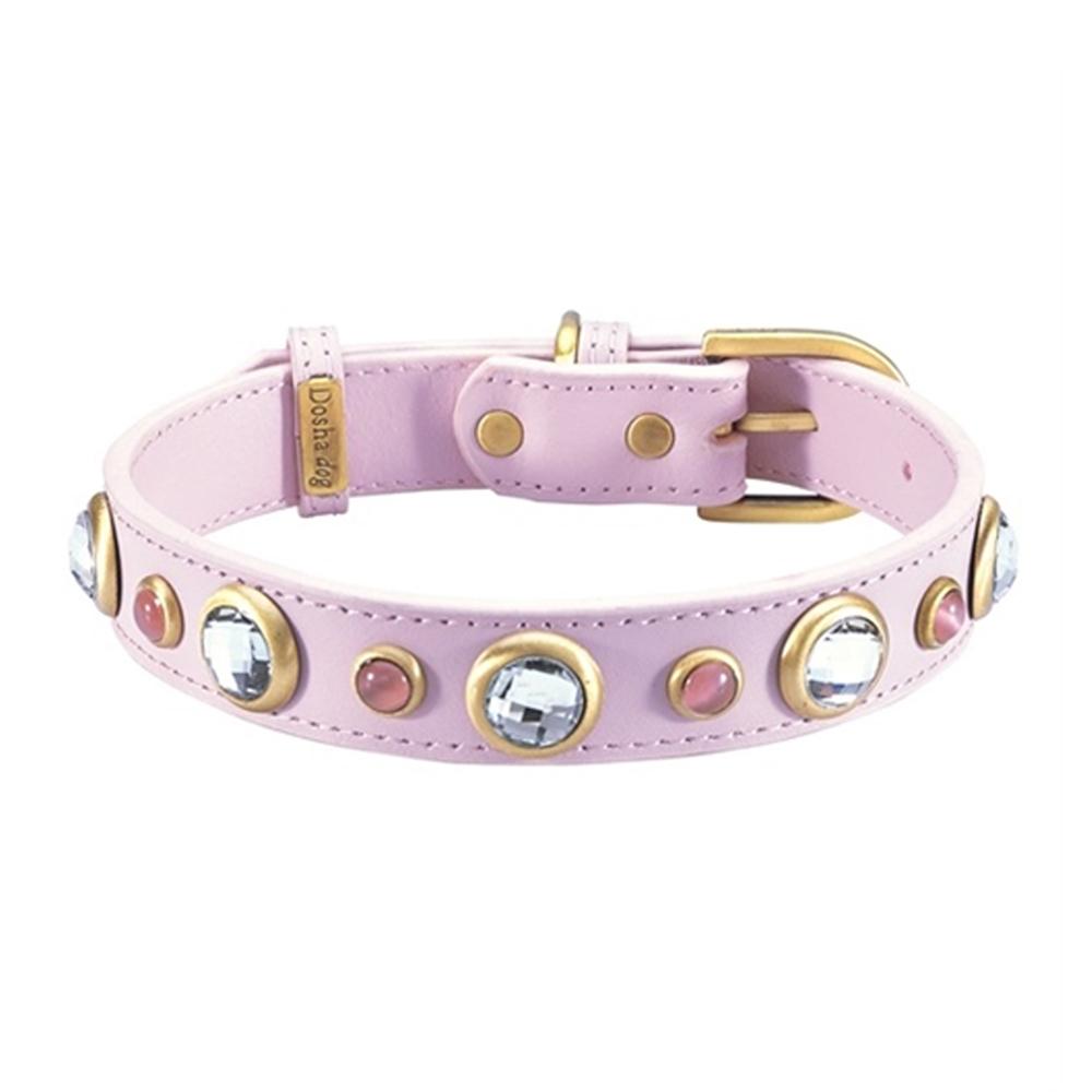 Dosha Collar Cuero Pink Diamond Faceted & Pink Cat Eye