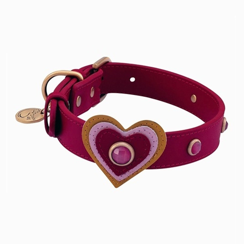 Dosha Collar Cuero Red Happy Campers Heart & Pink Cat Eye