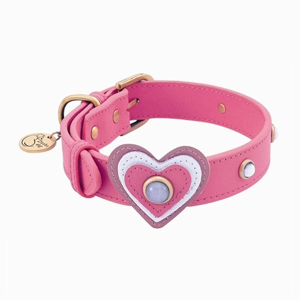 Dosha Collar Cuero Pink Happy Campers Heart & White Cat Eye