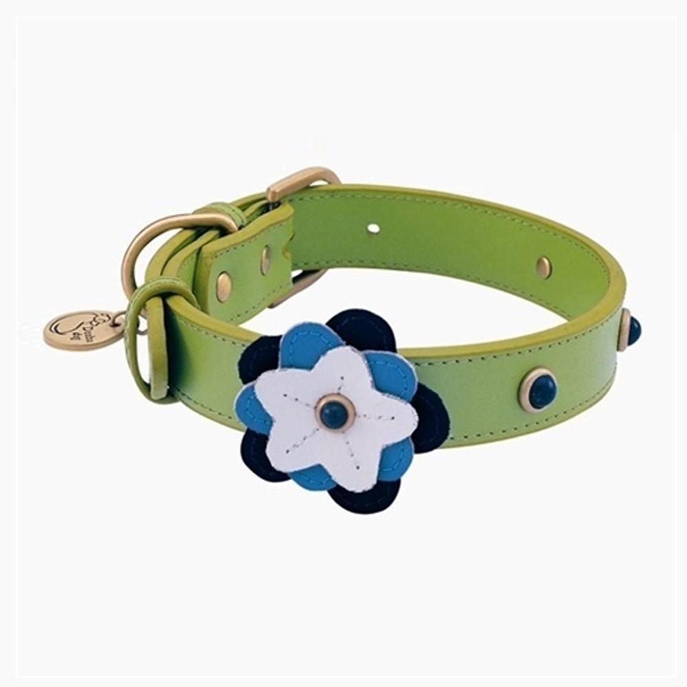 Dosha Collar Cuero Green Happy Campers Blue Petal & Sodalite