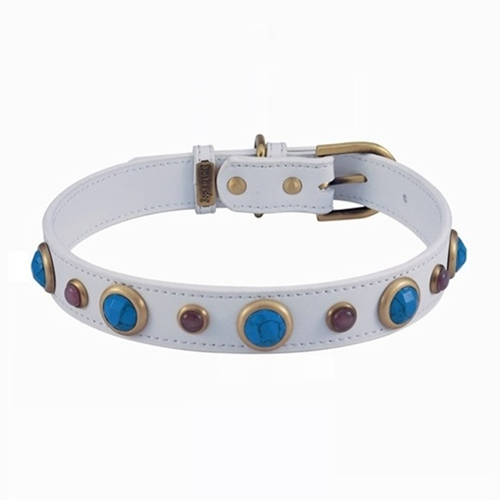 Dosha Collar Cuero White Imperial Faceted Turquoise & Cat Eye