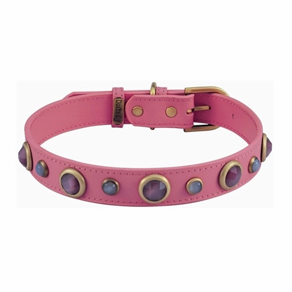 Dosha Collar Cuero Pink Imperial Faceted Pink & White Cat Eye