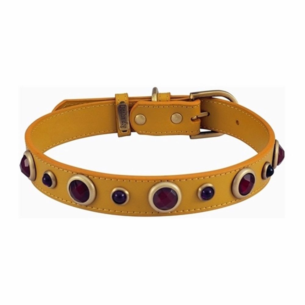 Dosha Collar Cuero Yellow Imperial Faceted Carnelian & Purple Glass
