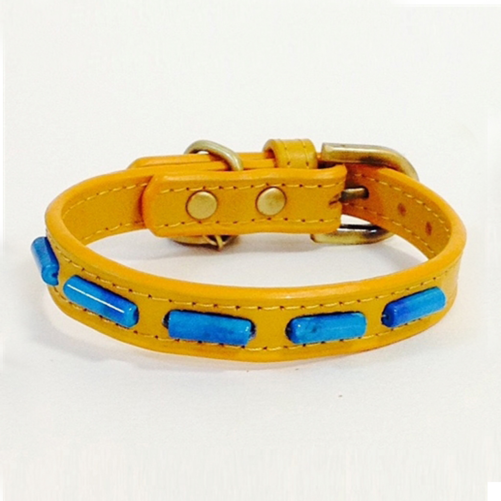 Dosha Collar Cuero Yellow Mini Stripes & Turquoise Gemstones