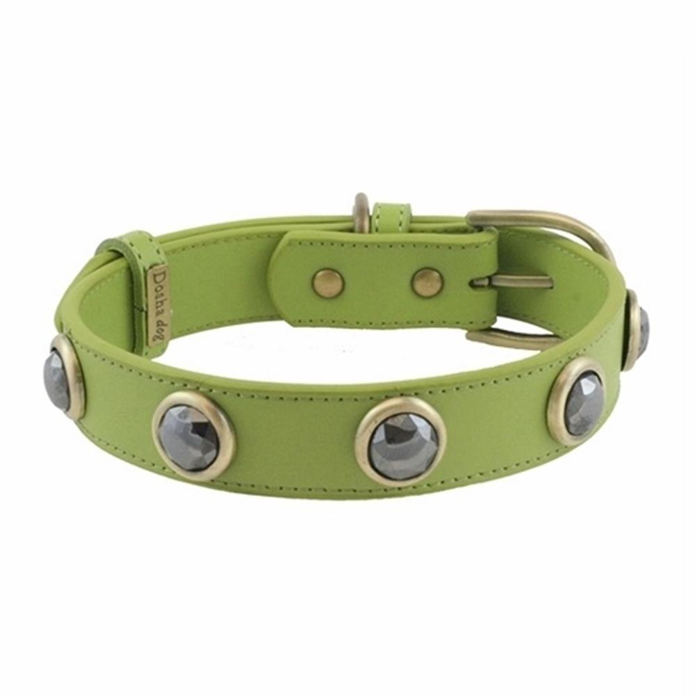 Dosha Collar Cuero Green Pebble Faceted Hematite