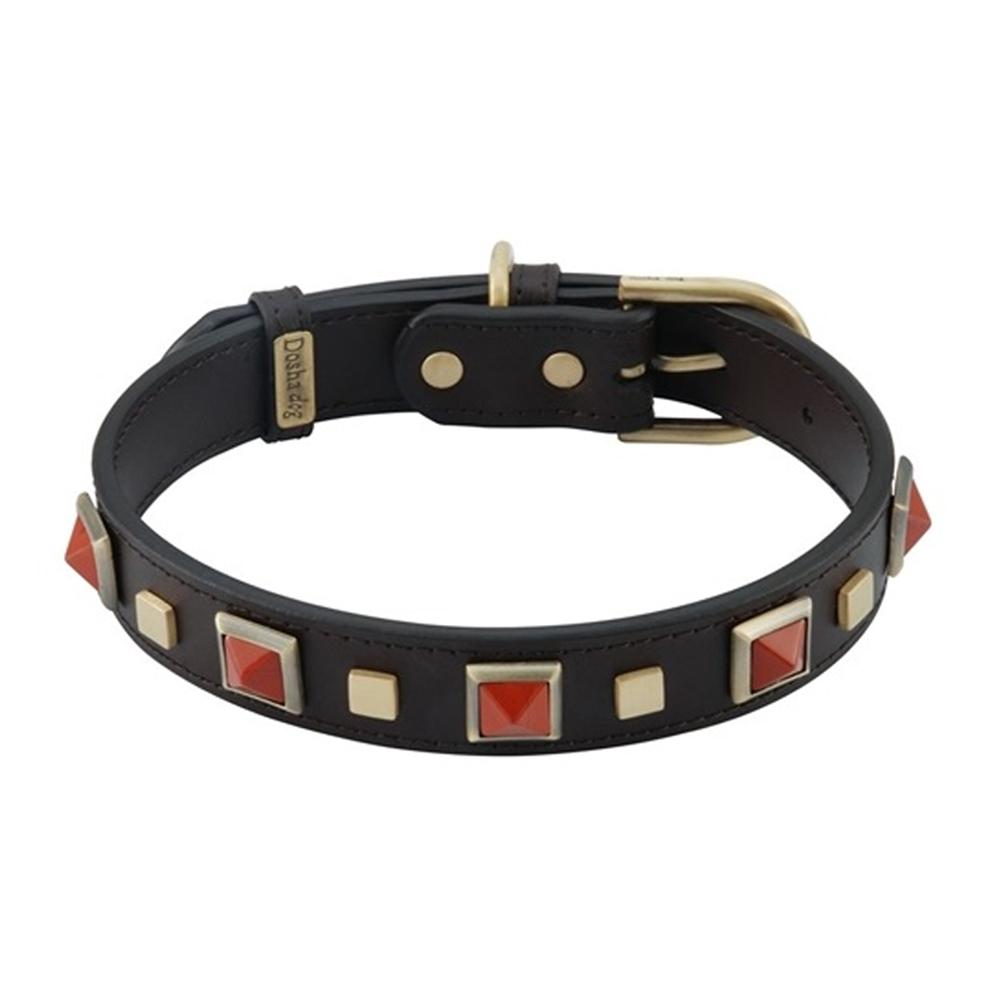 Dosha Collar Cuero Brown Rock & Roll Red Jasper