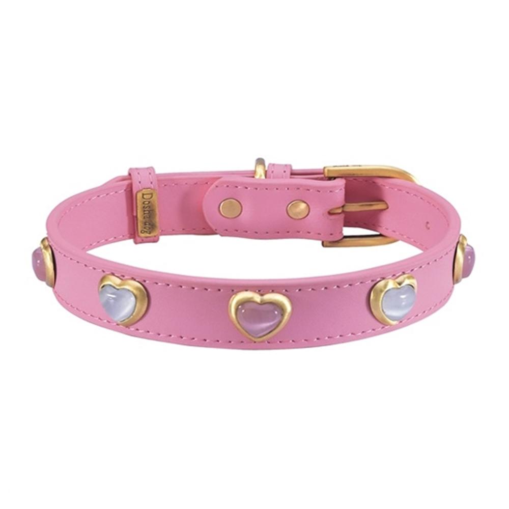 Dosha Collar Cuero Pink Heart Pink & White Cat Eye