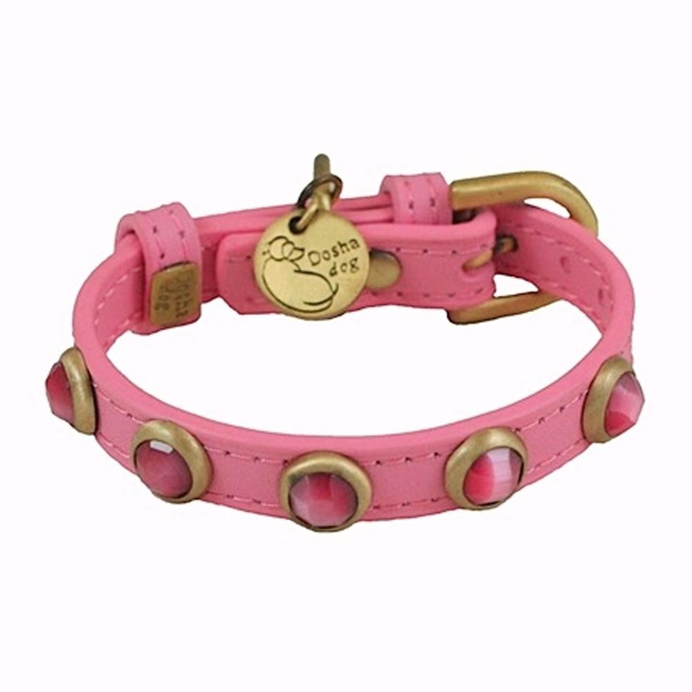 Dosha Collar Cuero Pink Pebbies Faceted Pink Cat Eye