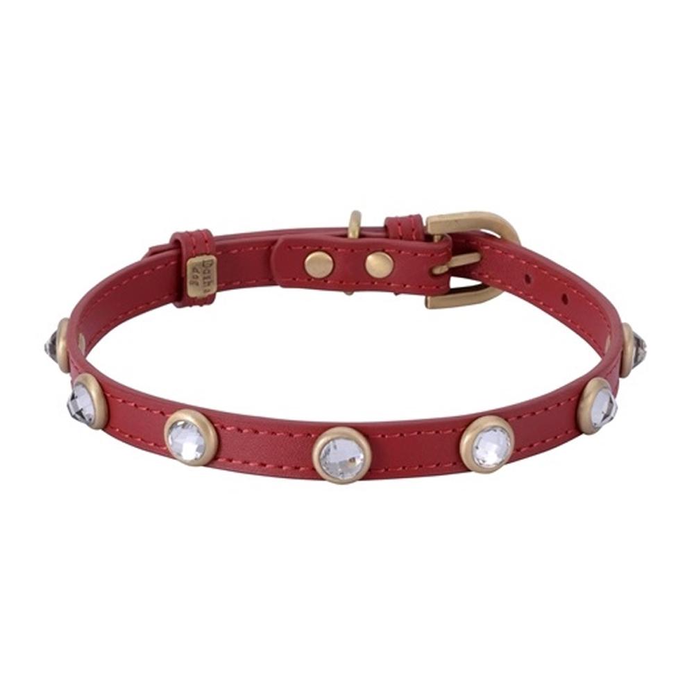 Dosha Collar Cuero Red Mini Diamond