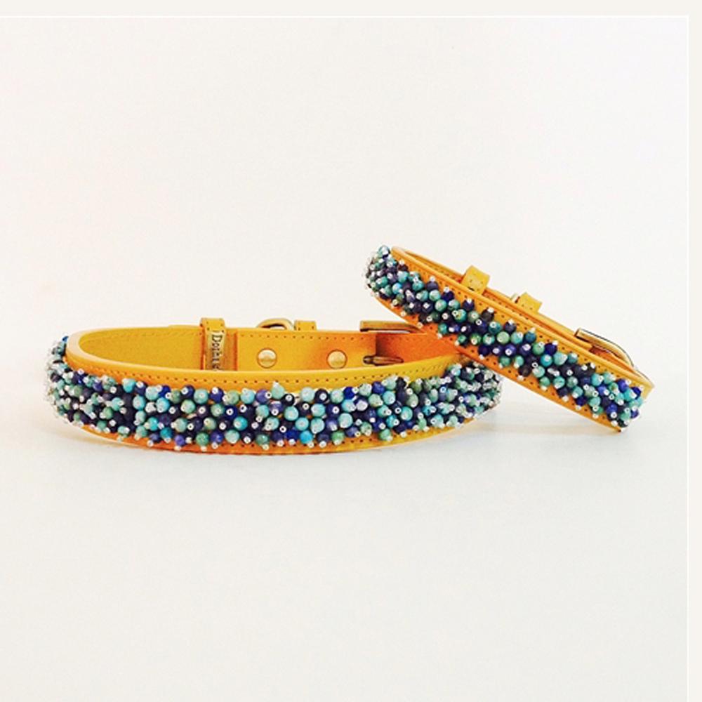 Dosha Collar Cuero Yellow Beaded Turquoise & Sodalite
