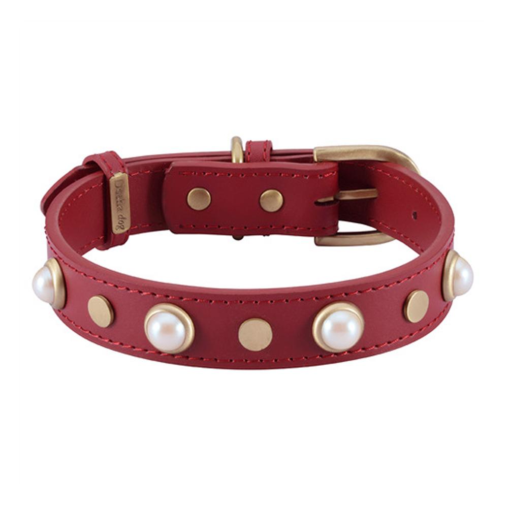 Dosha Collar Cuero Red Boho Glass Pearl