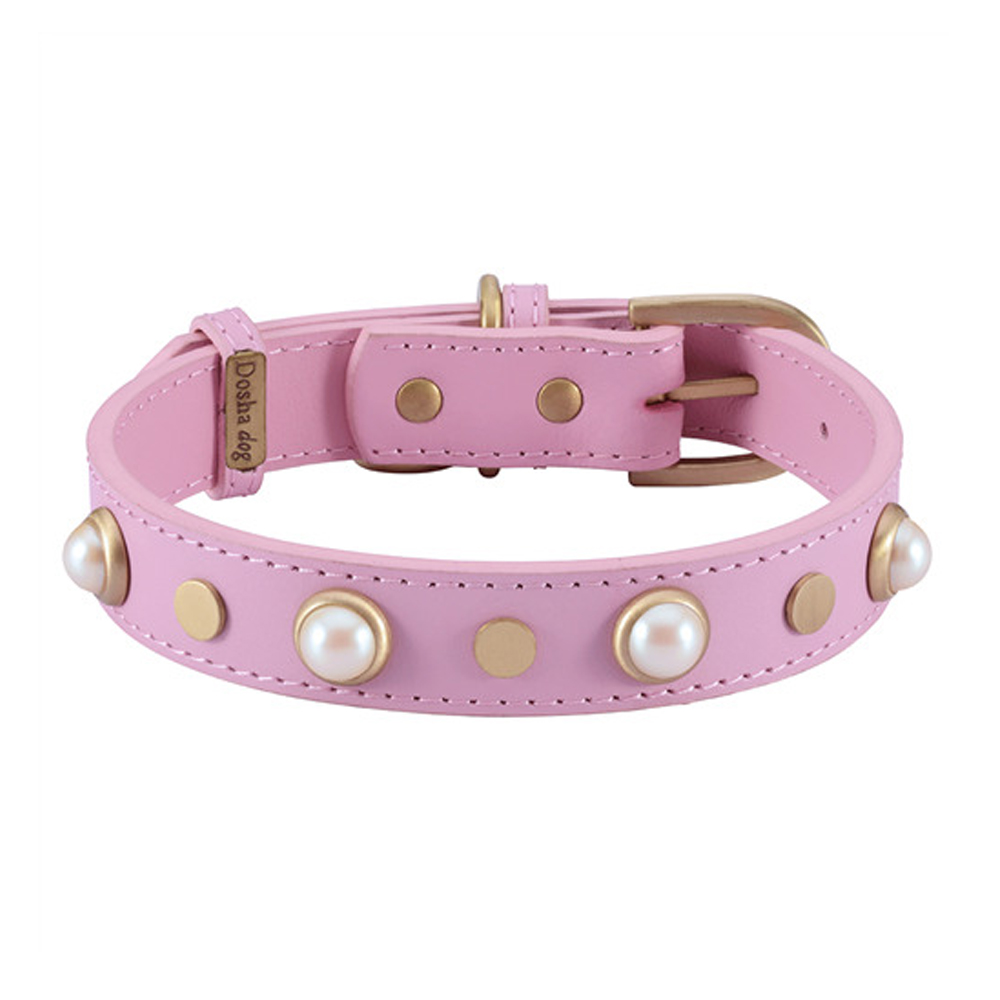 Dosha Collar Cuero Pink Boho Glass Pearl