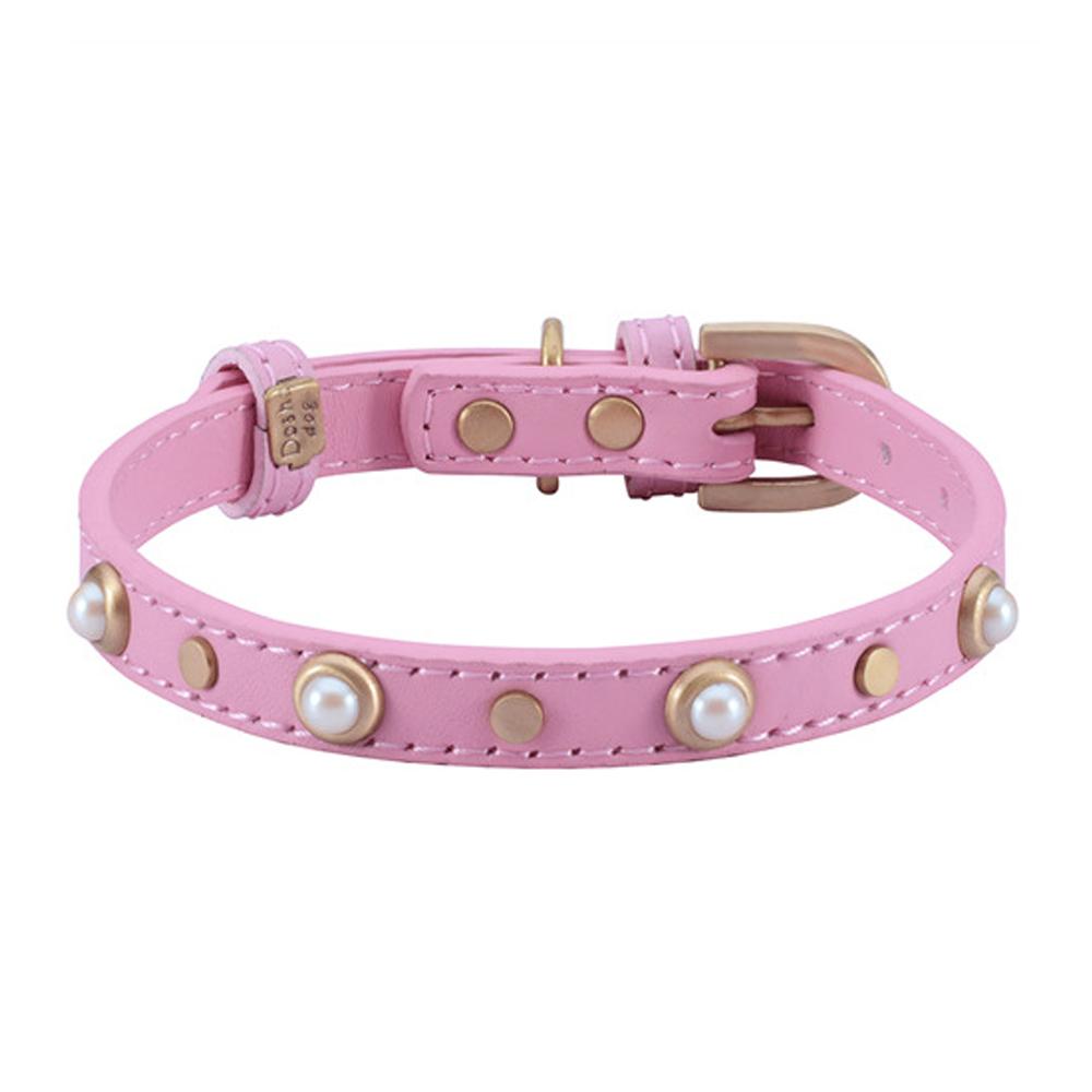 Dosha Collar Cuero Pink Mini Boho Glass Pearl