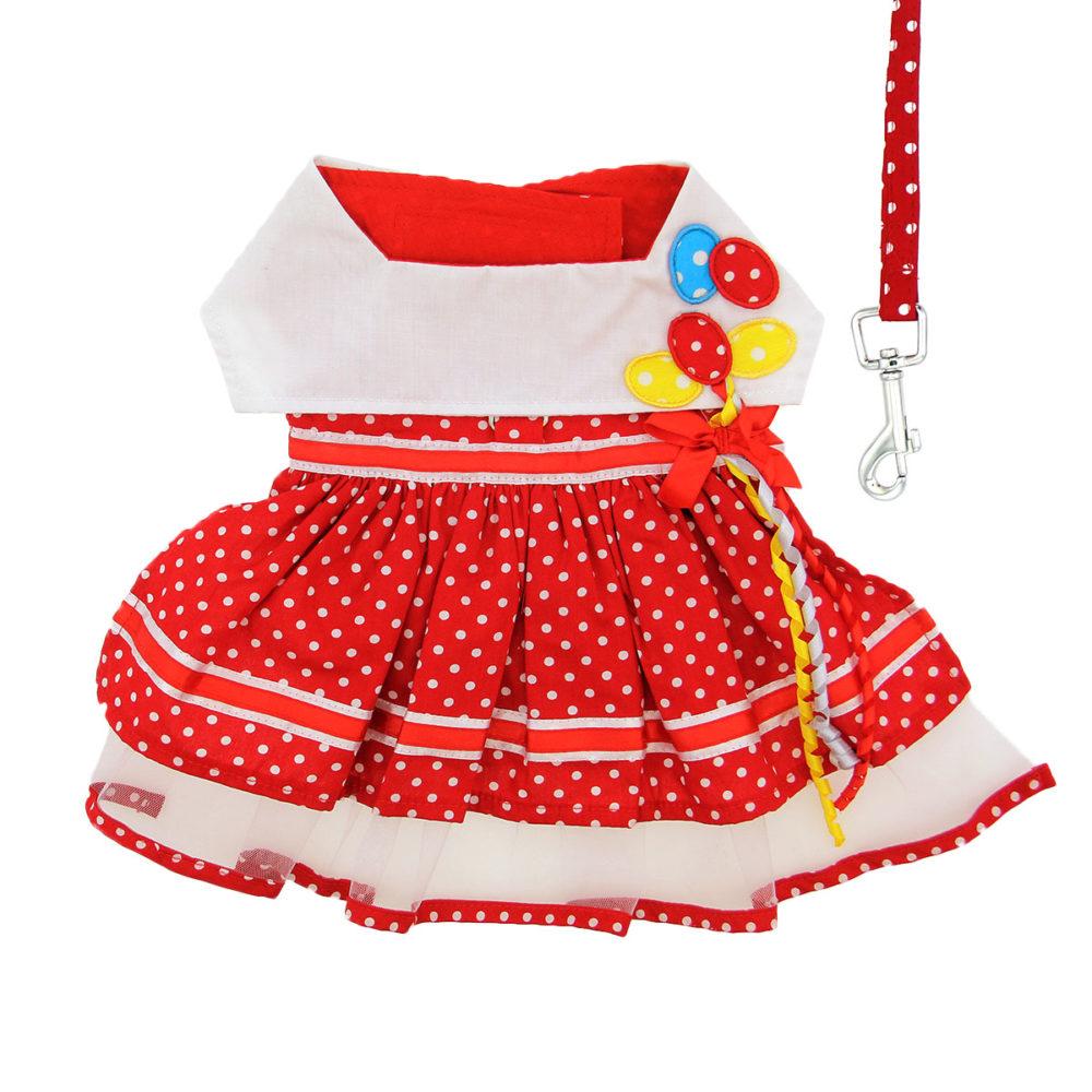 Doggie Design Vestido y Correa Red Polka Dot Balloon